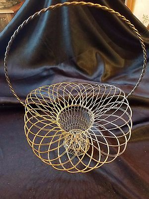 French Wire Basket Silver Vintage Cottage Chic Decor Garden Wedding