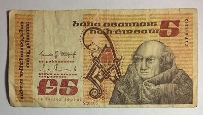 Central Bank of Ireland 5 Five Pound Note 1987
