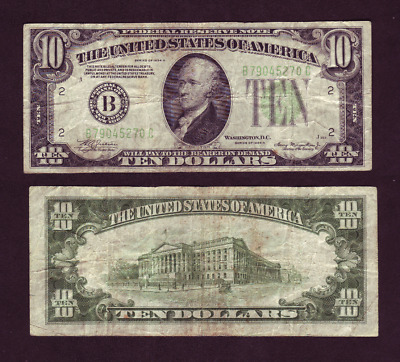 1934-A New York 10$ Federal Reserve Note Lime Green Seal B79045270C (P1138)