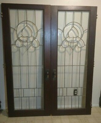 Antique Leaded Glass Double French Doors 29 1/2'' X 73 1/2'' X 1 3/4'' Each Door