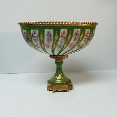 19th C. Sevres Style French Porcelain Bolted Jardiniere, Bronze Mounts