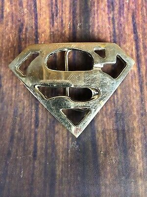 Vintage 1970's Chrome Plated Superman Logo Belt Buckle Man Of Steel DC Comics