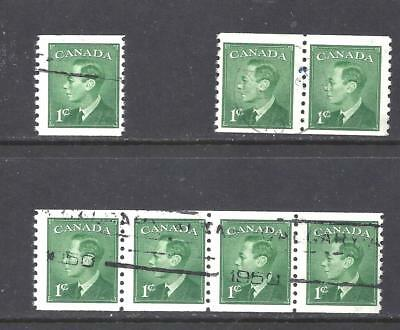 Canada KGVI COILS STRIP, PAIR AND SINGLE SCOTT 295 USED (BS10757)