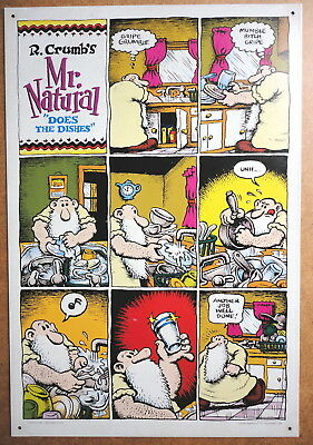 Mr Natural Does The Dishes R Crumb Metal Poster Litho Sign Kitchen Sink 1995 Vg