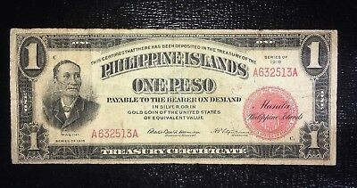 1918 Philippines 1 Peso Pick 60a Harrison Fitzsimmons In USA no delays $30 drop