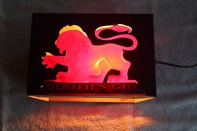 Vintage BOOTH'S GIN Red Lion Shadow Box Bar Display Lighted