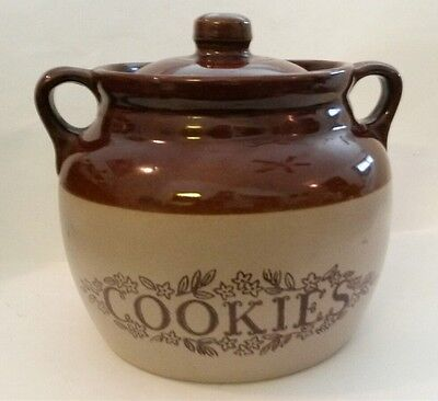 Vintage Monmouth Pottery Cookie Jar Crock Large Brown Stoneware