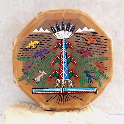 Native American Drum - Navajo Hand Painted Cochiti Drum -Tree of Life Design