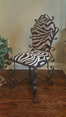 OLD FRENCH SPANISH ELABORATELY SCROLLED WROUGHT IRON CHAIR ZEBRA FABRIC 1 of 2