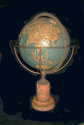 "ANTIQUE 12"" dia THURY & BELNET Inventeur Dated 1858 BAS RELIEF TERRESTRIAL GLOBE"