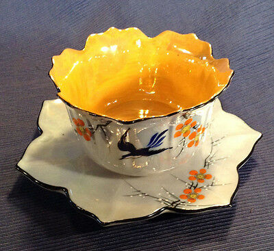 Blue Lustre Flower Shaped Bowl And Under Plate - Hand Painted Swallows - Japan