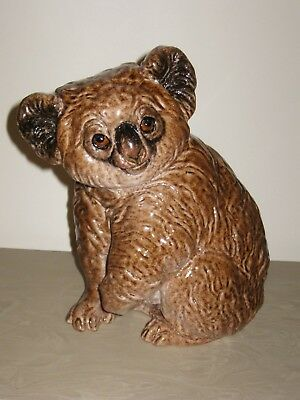 Vintage Heavy Italian Ceramic / Pottery Majolica Brown Glazed Koala Bear