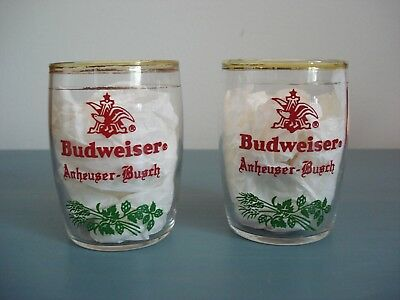 Vintage Anheuser-Busch Budweiser Small Beer Glasses- Set of 2-Rare