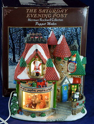 Saturday Evening Post Norman Rockwell Puppet Maker Lighted Porcelain Toy Shop
