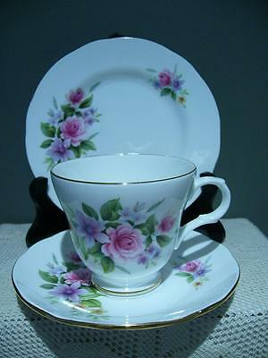 Crown Trent Bone China Floral Trio - Cup Saucer Plate - Vintage High Tea - Vgc