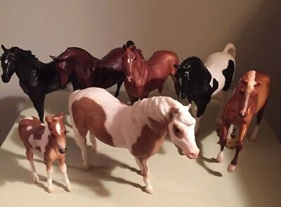 Lot Of 7 Breyer Toy Horses Pony Animal Figures Models Quality Realistic