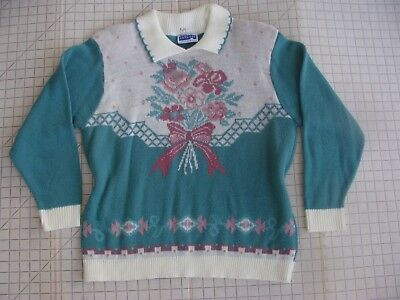 L 80s 90s Fairy Kei Collared Floral Bouquet Sweater Kawaii EUC Shoulder Pads