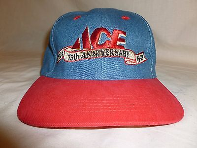 Vint Collectible Ace Cap Red Gold Blue Ace 75th Anniversary 1929-1999
