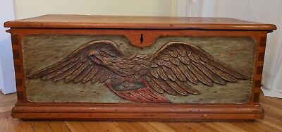 Antique Vintage 1930s Seaman's Sailor's Trunk Chest Carved Eagle Americana