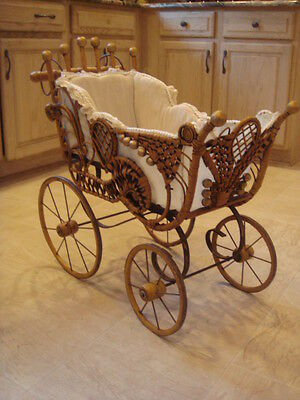 Victorian style wicker doll carriage pram