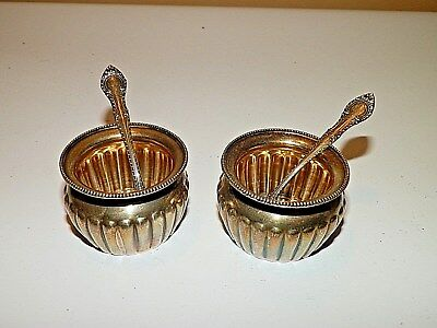Lot of 2 Antique 1899 Gorham Sterling Silver Salt Cellars W Spoons A3085