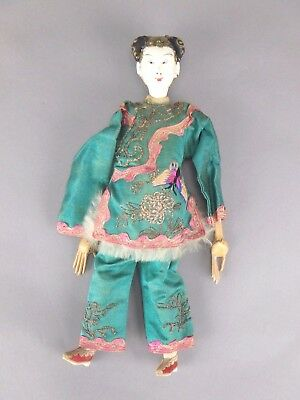Antique Chinese Opera Doll Signed Female Long Finger Embroidered Butterfly Dress
