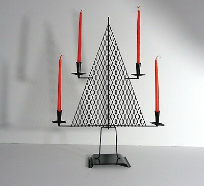Mid Century Modern - Metal *Christmas Tree* - Candle Holder -1960's - mesh