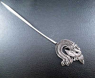 Filigree antiqued silver accent flying phoenix hair pin hand crafted