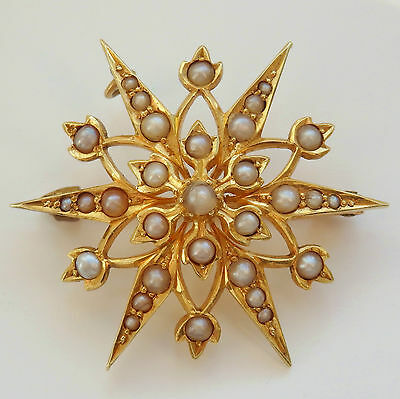 Antique Victorian 15ct Gold Pearl set Starburst Brooch with Floral Motif c1895