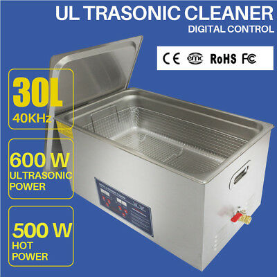 Stainless Steel 30L Liter Ultrasonic Cleaner Industry Heated Equipment w/Timer