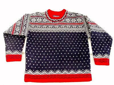 LANDS END Boys Sweater Size 6 - 7 Christmas Holiday Norwegian Style
