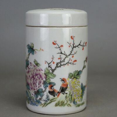 Chinese old porcelain famille rose bird & flower pattern tea caddy Ginseng cans