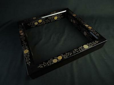 B3563:Japanese Wooden Flower gold lacquer pattern Outside border of a fireplace