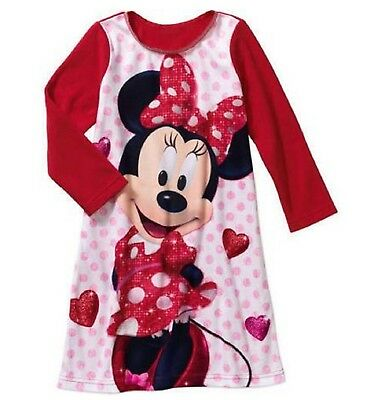 Disney Minnie Mouse Girls Toddler Flannel Nightgown Sleep Gown Pajamas (5t) F...