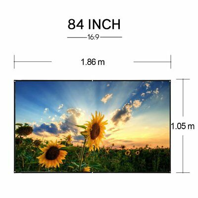 84'' Portable HD Slide Movie Film Projection Screen 84 Inches Projector Curtain