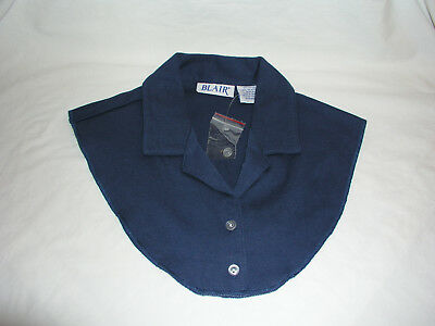 Blair Dicky Mock Notched Collar Button Down Navy Cotton Polyester Knit Shirt Top