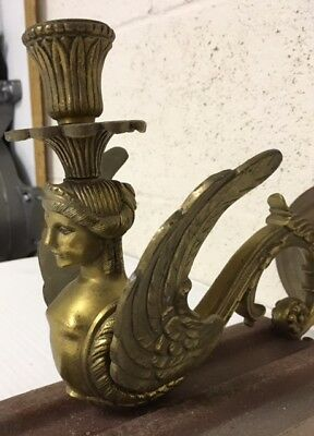 Antique Solid Brass Wall Sconce Light Fixture Pair