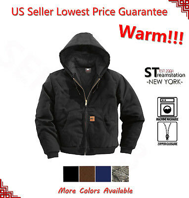 New Men Sandstone Canvas Quilted Thermal Lined Active Industrial Winter Jacket