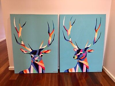 Hand Painted Acrylic Paintings On Canvas (pair)