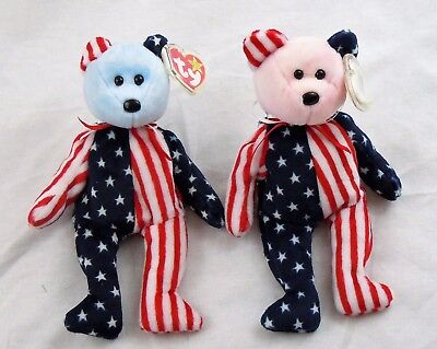 Ty Beanie Babies Spangle Set Pink and Blue Face, Extremely Rare