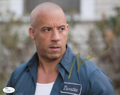 """Vin Diesel Autographed Signed 8x10 Photograph""""Fast and Furious"""" (JSA)"""