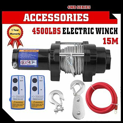 12V 4500LBS/2041kg Electric Winch Iron Rope 2 Remote Wireless ATV BT