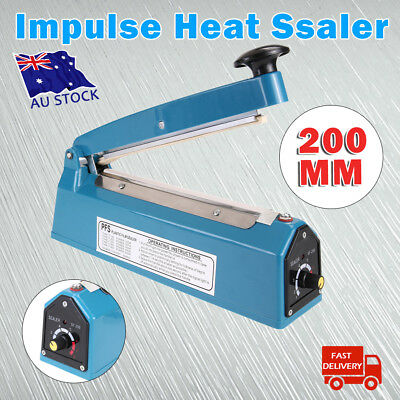 "8"" Impulse Heat Sealer 200mm Manual Plastic Poly Bag Hand Sealing Machine 300w"