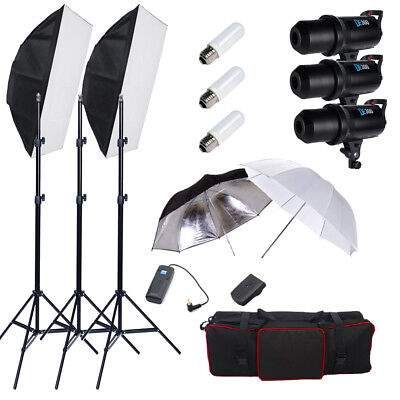 DE300 900W Photo Studio Flash Light Stand Kit Soft Box Umbrella Strobe LED Set