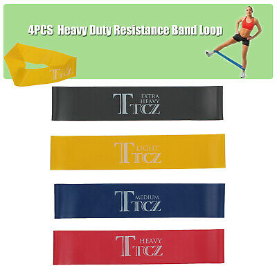Heavy Duty Resistance Band Set Of 4 YOGA Loop Power GYM Fitness Exercise Workout
