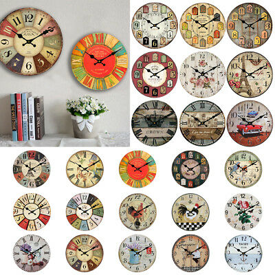 Large Vintage Wooden Wall Clock Shabby Chic Rustic Kitchen Home Christmas Gifts