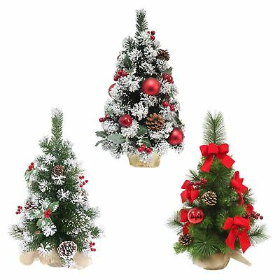 Decorated Artificial Mini Christmas Tree 60cm Tall Green Pine Indoor 3 Styles