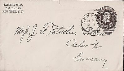 Germany - Usa  1887 Postal History From New York To Germany Cover