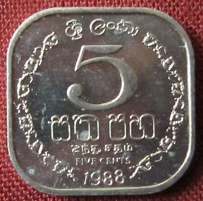 Sri Lanka - 5 Cents - 1988 -  BU  prooflike -   KM# 139.a