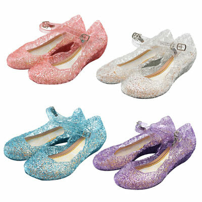 Kids Girls Crystal Jelly Sandals Princess Cosplay Party Dance Shoes